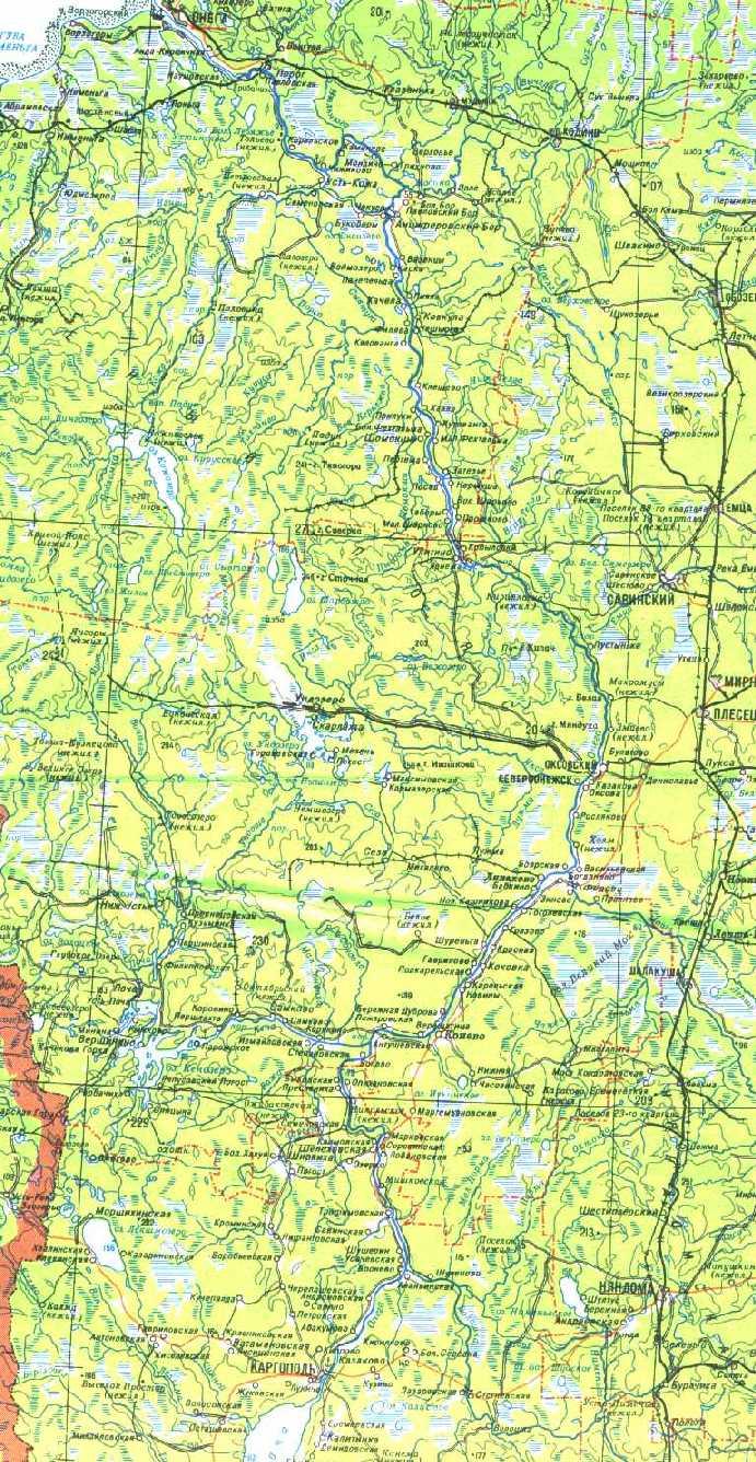 Карта реки онега